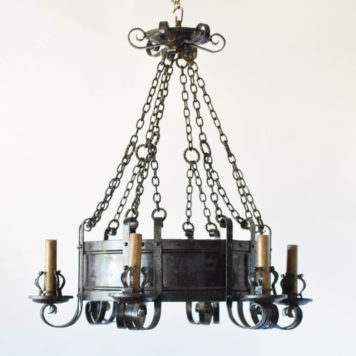 Large antique iron chandelier from France with tall band and forged iron arms