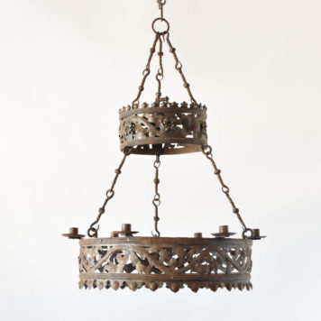 Antique French Iron chandelier with pierced metal band and crown