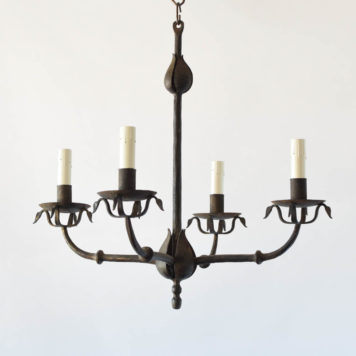 Heavy forged Spanish chandelier with thick leaves and rustic gold patina