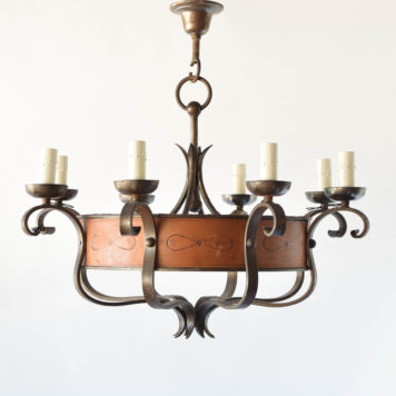 Vintage Iron Chandelier wrapped in leather