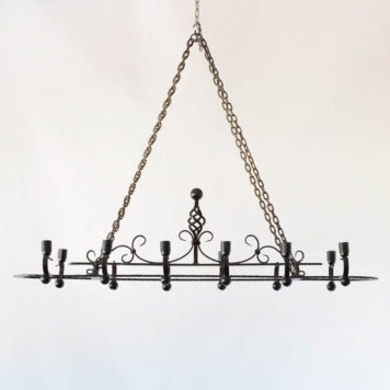 Antique iron chandelier with oval form from France