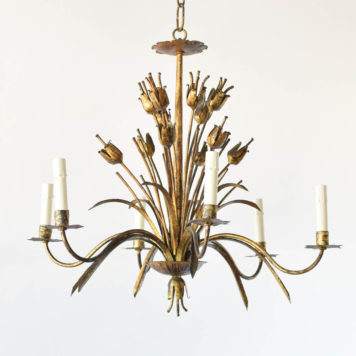 Antique Spanish chandelier with gilded poppy flowers