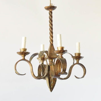 Antique Iron Chandelier from Spain