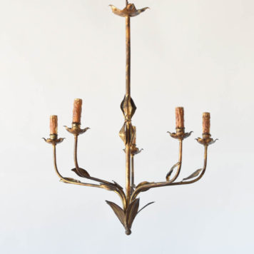 Antique iron chandelier from Spain with gilded finish