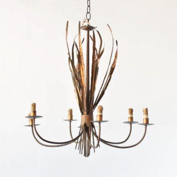 Vintage Spanish chandelier with gilded bundle of grasses