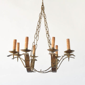Antique Spanish chandelier with gilded finish