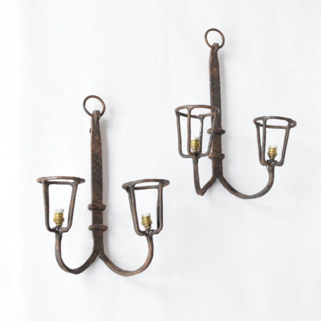 Iron Sconces from France with a Torch Style arm design