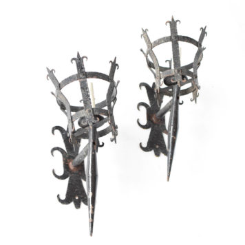 Large French Sconces with Torch form and fleur de lis back plate