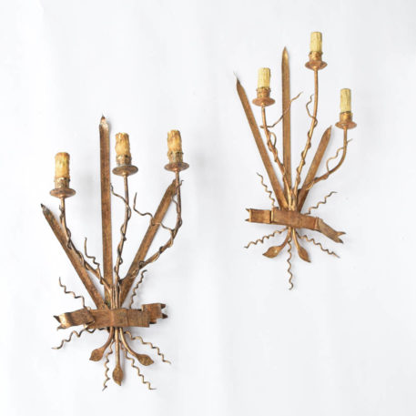 Organic Form Spanish sconces with gilded finish