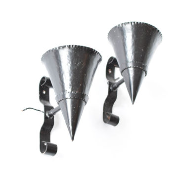 Very Large Iron Cone Form Sconces from Belgium