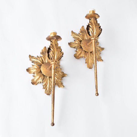 Tall Spanish Wall Sconces with Sunflower backplate
