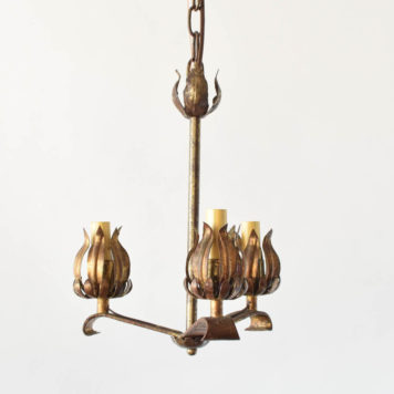Vintage Spanish chandelier with 3 simple arms