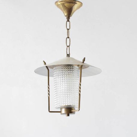Vintage Belgian lantern with waffle glass