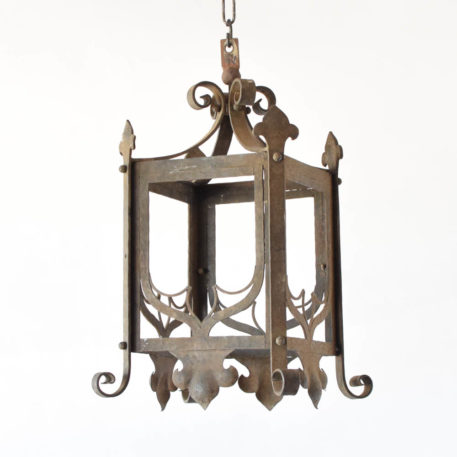 Antique French iron lantern with hand forged neo-gothic elements