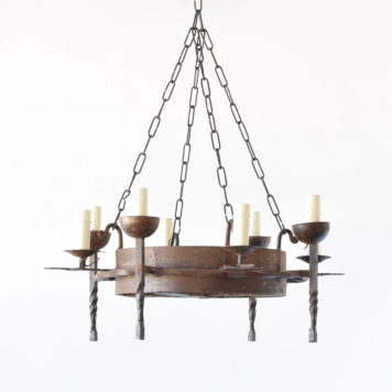 Antique Rustic French Chandelier with Torch style arms