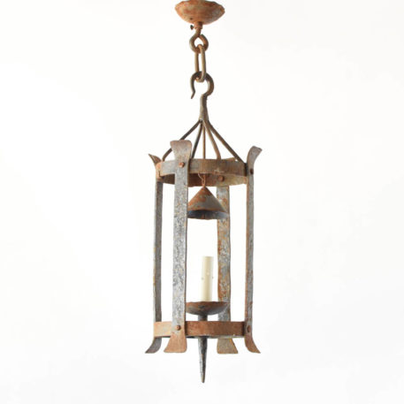 Antique rustic iron lantern from France