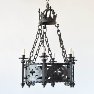 Vintage French Iron chandelier with star design in pierced metal band