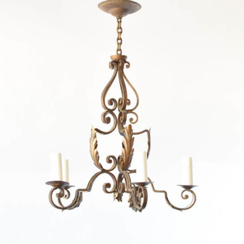 Vintage Iron Chandelier from France with hand forged iron scrolls
