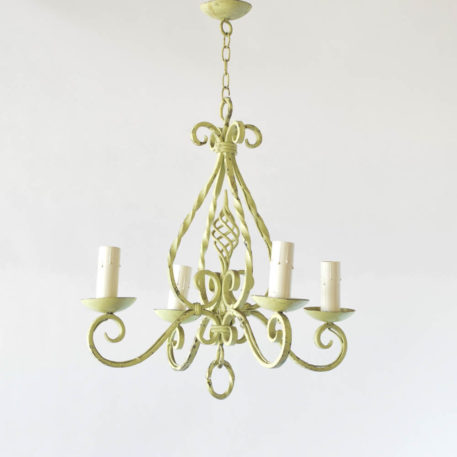 Vintage Iron Chandelier from France with bright green patina