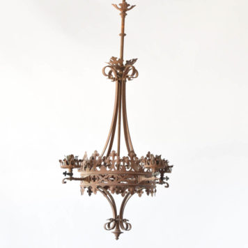 Antique Iron Gas chandelier from France converted to electrical
