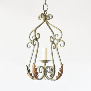 Vintage Hall Lantern from France made with iron scrolls