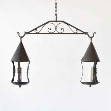 Antique iron light fixture with 2 pendants