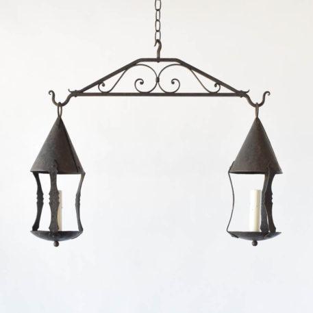 Antique iron light fixture with 2 pendants