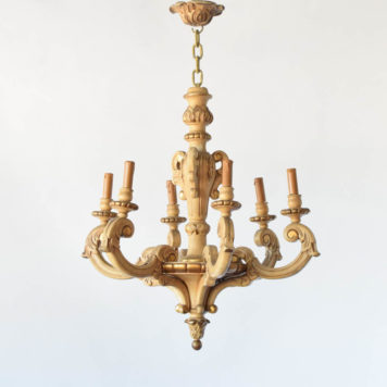 Vintage Italian wood chandelier with original patina