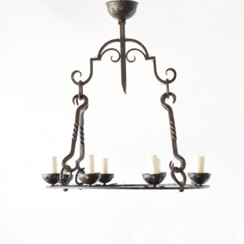 Vintage Iron Chandelier from Belgium with Heavy Rods and Collector