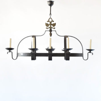 Belgian Iron Chandelier with Elongated Dome form and Double Eagle decoration at the top