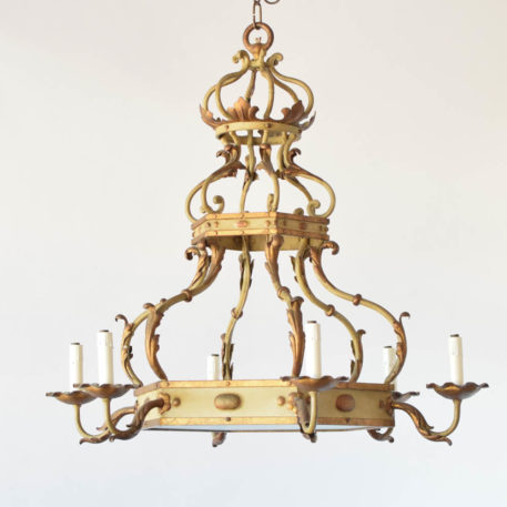 Vintage Belgian chandelier with crown form and original patina