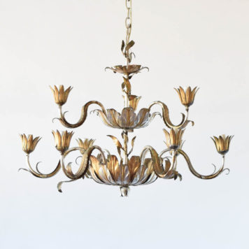 Vintage Spanish Chandelier with original gold patina and leaf form bowls