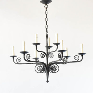 Antique Iron chandelier hand forged in Belgium