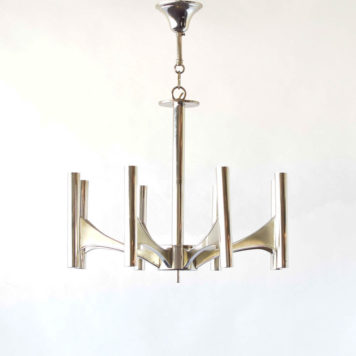 Vintage Italian Chandelier in the style of Sciolari made in Chrome