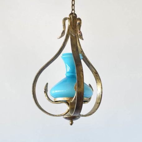 Vintage Spanish hall lantern with original blue globe