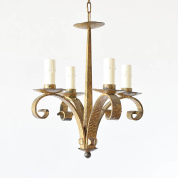 Heavy forged iron chandelier from Spain with gilded finish