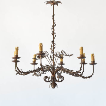 Unusual organic form vintage Spanish chandelier