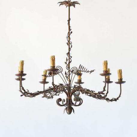 Unusual organic form vintage Spanish chandelier