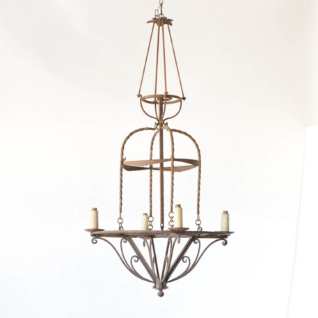 Antique art Deco chandelier with hand forged iron frame