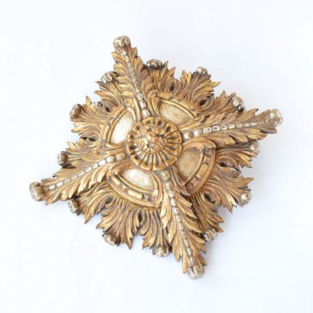 Antique carved wood medallion ceiling light