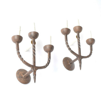 Vintage Forged iron sconces with candelabra form