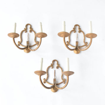 Vintage French sconces with hand forged iron twisted bar design