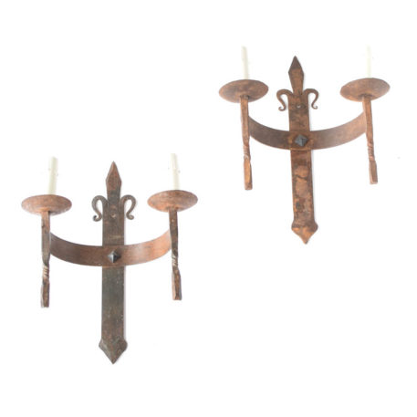 Forged Iron Sconces from France with Fleur de Lis design at top