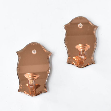 Deco style sconces with copper color mirrored glass from France