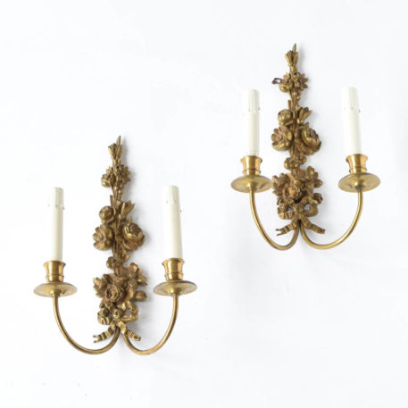 Antique French sconces with bronze flowers