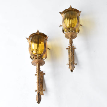 Iron and Glass Sconces in a torch form with original gilded finish from Spain