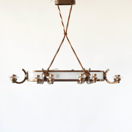 Antique French art deco chandelier with copper frame and etched frosted glass panels
