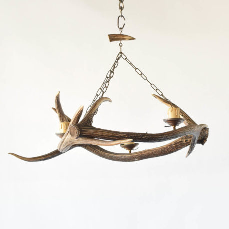 Vintage Belgian chandelier made from European stag horns