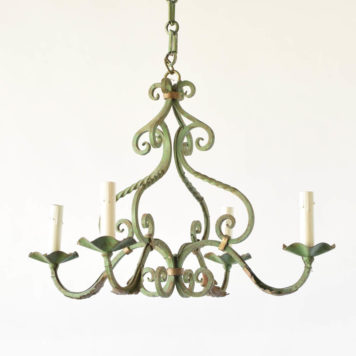 Vintage iron chandelier with original green French patina