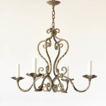 Vintage iron chandelier from France with a Frecnh Country style